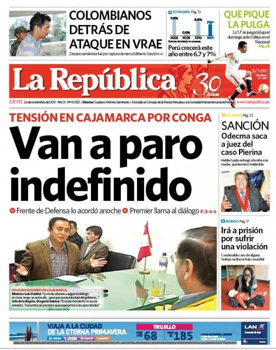 Vea las portadas de los principales diarios peruanos para for Noticias del espectaculo del dia de hoy
